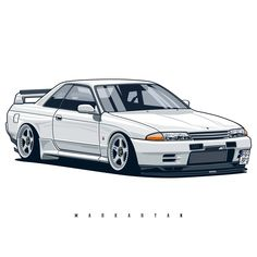 Skyline GTR' Poster by OlegMarkaryan Nissan Skyline, Skyline Gtr, Nissan R32, R32 Gtr, Car Illustration, Japan Cars, Jdm Cars, Tuner Cars, Car Drawings