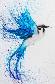 Butterfly Dreams Limited Edition Art Print By Ashvin Harriso.- Butterfly Dreams Limited Edition Art Print By Ashvin Harrison Bird Painting Acrylic, Watercolor Paintings, Tattoo Watercolor, Space Watercolor, Acrylic Art, Watercolor Dancer, Watercolor Projects, Blue Painting, Watercolor Trees