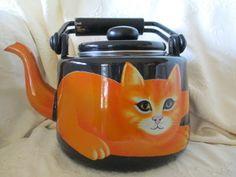 Martin Leman Ginger Orange Cat Tea Pot Teapot Heavy Enamelware Wood Handle HTF!