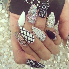 Matte black & white, Fishnet design, & lots of Rhinestones