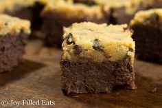 My Chocolate Chip Cookie Dough Brownies have a thick gooey, fudge brownie underneath a layer of raw cookie dough. - Low Carb, Grain/Gluten/Sugar-Free, THM S