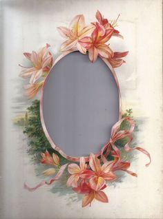 Frame - oval window with pink lillies