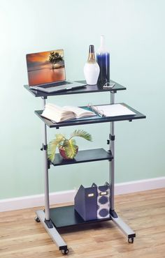 Spacious Mobile Height Adjustable Standing Desk. This Is The Perfect Mobile  Computer/laptop Station