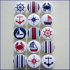 Kids Dresser Knobs - Drawer Pulls - Nautical Knobs - Anchor - Sailboat - Helm - Stripes - Sailboat Knobs - Wood Knobs - Inches on Etsy, Nautical Drawer Knobs, Nautical Drawers, Nautical Dresser, Nautical Prints, Nautical Nursery, Nursery Decor, Bedroom Decor, Deco Marine, Painted Rocks