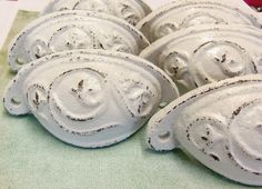 6 for 36 Bin Pull Drawer Pulls White Distressed Cast Iron Cottage Chic Shabby 3 Inch Centers Set of 6 The available sets are either white distressed or