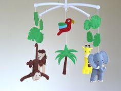 Safari Baby Mobile Jungle Animal Musical Baby Mobile Cot