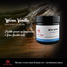 Light, sensual and simple - the perfect styling wax for Spring! Firm, flexible hold that you can restyle through the day and a subtle very masculine fragrance Vanilla Essential Oil, Essential Oils, Hair Wax, Beard Oil, Front Lace, Argan Oil, Lace Wigs, Melbourne