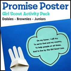 Grow your girls by helping them learn and practice The Girl Scout Promise with this appealing Promise Poster suitable for a variety of grade levels.This free product includes...* Printable paper activity designed to use minimal supplies and ink* Supply list* Leader directions* Sample project photoWant more freebies?