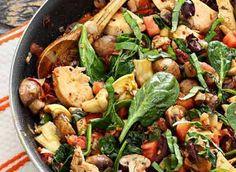 One-Skillet Paleo Mediterranean Chicken Recipe (calls for mushrooms, artichoke hearts, sun-dried tomatoes, roma tomatoes)