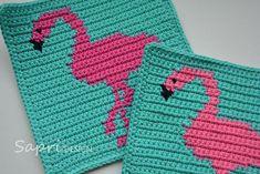 Flamingo Potholder Crochet Pattern – for beginners : Flamingo Potholder Crochet… - Knitting for Beginners Crochet Flamingo, Flamingo Pattern, Crochet Bebe, Diy Crochet, Crochet Potholder Patterns, Crochet Chart, Crochet Squares, Crochet Basics, Crochet Patterns For Beginners