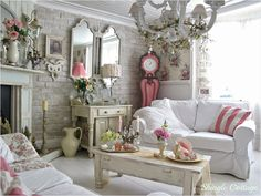 How to get Amazing shabby chic interior design style - The Princess Home Romantic Living Room, Shabby Chic Living Room, Shabby Chic Interiors, Bedroom Romantic, House Interiors, Shabby Chic Farmhouse, Shabby Chic Cottage, Shabby Chic Homes, Romantic Cottage
