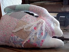 Patchwork Bunny Pillow Shabby Chenille Stuffed by ITSYOURCOUNTRY, $23.99
