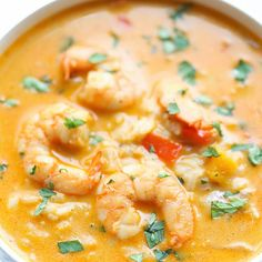 Easy Thai Shrimp Soup Recipe Soups with rice, unsalted butter, medium shrimp, kosher salt, ground black pepper, garlic, onions, red bell pepper, ginger, red curry paste, coconut milk, vegetable stock, lime, coriander leaf