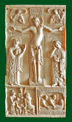 Salerno ivory - Crucifixion of Jesus Christ and burial - 1100 AD Crucifixion Of Jesus, Jesus Christ, Romanesque Sculpture, Christian Artwork, Holy Quotes, Bible Covers, Wood Carving Patterns, Byzantine Art, Early Christian