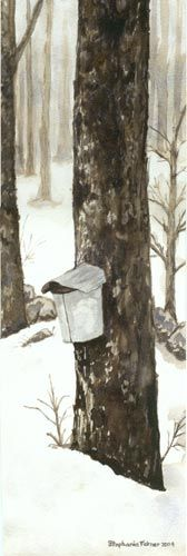"""""""Moose's Sap Bucket"""" - My neighbor is a very tall and big man who goes by Moose. Once he retired he built a log cabin with a sugar shack in his back yard. One foggy and damp early spring day I took a picture of one of Moose's sap buckets hanging from an old maple tree on our side or the road. Later I created this painting. I love that Moose still uses old fashioned sap buckets."""