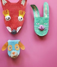 Animal heads from cereal boxes.