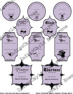 Salem Witchery Labels Digital Collage Sheet JPG by indigochyld, $3.25