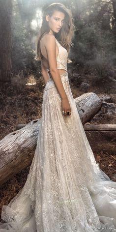 galia lahav gala 4 2018 bridal sleevelesss halter deep plunging v neck full embellishment sexy a  line wedding dress open back chapel train (908) sdv lv -- Gala by Galia Lahav 2018 Wedding Dresses