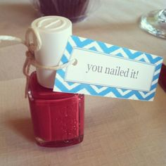 Baby shower prize - you nailed it. Throw in other manicure/pedicure goodies