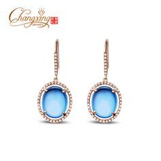 http://gemdivine.com/14k-gold-natural-10-50ct-cabochon-cut-blue-topaz-diamond-drop-earrings/