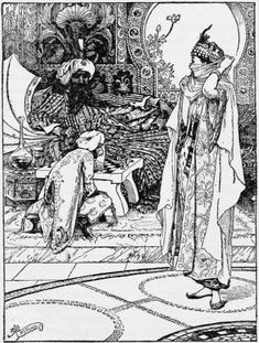 """""""The pricess veils herself when she sees the monkey"""" from the story of the second calender - Arabian nights"""