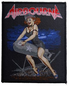 Official Airbourne Sew-on Patch measuring approx 100mm x 80mm featuring the girl riding bomb design Road Runner Records Ofiicially Licensed Band
