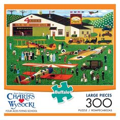 Charles Wysocki: Four Aces Flying School 300-pc. Puzzle, Multicolor