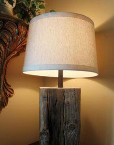 repurposed tree wood lamp