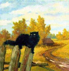 Black Cat in Autumn ~ Pavel Petrov