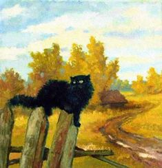 Autumn cat painting. Pavel Petrov - The Cat