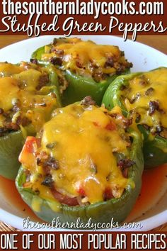 STUFFED GREEN PEPPERS - The Southern Lady Cooks.I swapped out the tomatoes with rotel, used beef.added tomato sauce to beef mixture. Meat Recipes, Dinner Recipes, Cooking Recipes, Healthy Recipes, Recipies, Cooking Bacon, Healthy Dinners, Dinner Ideas, Beef Dishes
