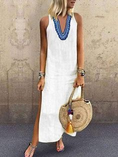 Casual v-neck print sleeveless maxi dress - Trendy Dresses Grunge Style Outfits, Floryday Vestidos, Shift Dresses, Maxi Dresses, 1950s Dresses, Dresses 2016, Party Dresses, Casual Dresses, Summer Dresses