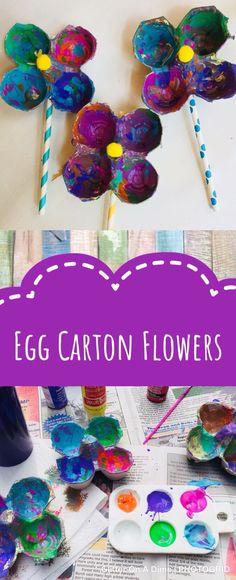 Egg Carton Flowers - Great Spring Craft #spring #craftsforkids