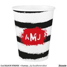 Shop Cool BLACK STRIPES + Custom Couple Monogram Paper Cup created by GoodPatternBest.