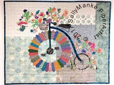 Big Wheel Bicycle Art Quilt - Floral Penny-Farthing Cycle - Quilted Wall Hanging - Vintage Bike - Fiber Art - Original Design - Office Decor by SallyManke on Etsy