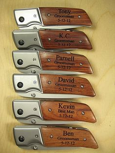 6 Engraved Knives Pocket Knife LED Flashlight Personalized Wood Groomsman Ring Bearer Best Man Gift Hunting Hiking Keepsake. $150.00, via Etsy.