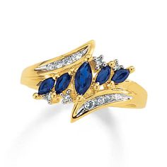 5-Stone Marquise Sapphire Ring with Diamond Accents in 10K Gold - my husband's birthstone.