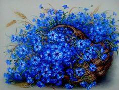 Букеты Екатерины Сенив. Обсуждение на LiveInternet - Российский Сервис Онлайн-Дневников Art Floral, Beautiful Paintings Of Flowers, Amazing Flowers, Blue Is The Warmest Colour, Tree Print, Botanical Art, Painting Inspiration, Blue Flowers, Painting & Drawing
