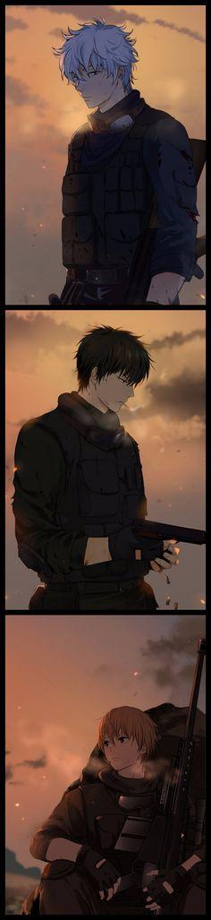 Gintok Sakata, Hijikata Toushirou, Okita Sougo #army #smoking #gun