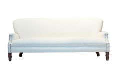 Ro Sham Beaux: Lola Sofa 87 x 34 x 38 White chenille upholstery. Brass and hemp accents. $3,375. To order, call us at 843-641-7087.