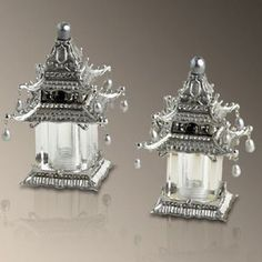 L'Objet Pagoda Shaker Set with Swarovski Crystals and Fresh Water Pearls in Platinum. These lovely Salt & pepper Shakers presented in a Luxury gift box. Salt N Pepper, Salt Pepper Shakers, Asian Interior, Chinoiserie Chic, White Freshwater Pearl, Decorative Bells, Swarovski Crystals, Water Pearls, Stuffed Peppers