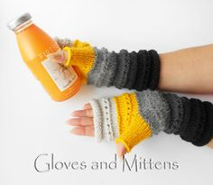 Gloves – Grey and Yellow Fingerless gloves, Hand Warmers. – a unique product by GlovesAndMittens on DaWanda