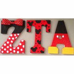 made ZTA Zeta Tau Alpha Mickey & Minnie wooden letters to decorate my Disney College Program dorm! Love sorority crafting❤️