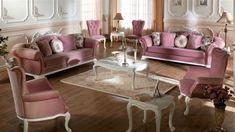 Un salon baroque rose. Home Room Design, Living Room Designs, House Design, Luxury Home Furniture, Furniture Design, Sofa, Couch, 4k Hd, Furniture Collection