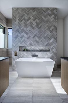 bathroom renovations is unquestionably important for your home. Whether you choose the serene bathroom or bathroom renovations, you will make the best wayfair bathroom for your own life. Rustic Bathrooms, Modern Bathroom, Master Bathroom, Bathroom Feature Wall Tile, Feature Tiles, Small Bathrooms, Accent Wall In Bathroom, Bathroom Niche, Grey Bathroom Tiles