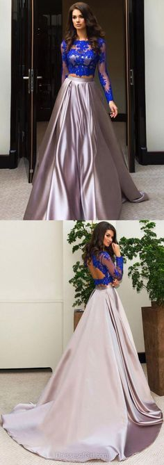Modest Ball Gown Formal Dresses, Scalloped Neck Tulle Elastic Woven Satin Evening Party Gowns, Sweep Train Appliques Lace Long Sleeve Two Piece Prom Dresses