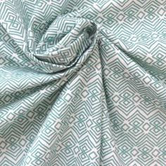 Tissu en coton imprimé ethnique à losanges vert turquoise