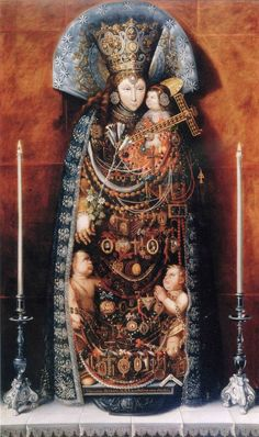 """The painting I'm referring to is a depiction of Our Lady of the Forsaken (""""Nuestra Señora de los Desamparados"""") by Tomás Yepes (see below). Painted in 1644, Yepes recreated in minute detail the way the statue of the Virgin appeared, with all of its many adornments and votive offerings.The painting falls under the category trampantojos del divino, meaning """"divine trompe l'oeil."""""""