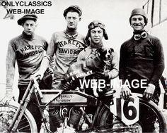 1917 HARLEY DAVIDSON MOTORCYCLE RACING WITH MASCOT DOG PHOTO WRECKING CREW RACER