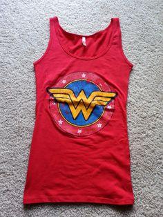 *WONDER WOMAN*..DC Original  Wonder Woman LOGO  ....Red Women s Tank Top